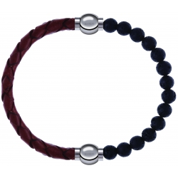 Apollon - Collection MiX - bracelet combinable cuir tressé italien marron - 10,5cm + pierre de lave 6mm - 10,25cm