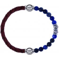 Apollon - Collection MiX - bracelet combinable cuir tressé italien marron - 10,5cm + labradorite 6mm - 10cm