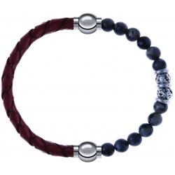 Apollon - Collection MiX - bracelet combinable cuir tressé italien marron - 10,5cm + sodalite 6mm - 10cm