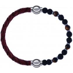 Apollon - Collection MiX - bracelet combinable cuir tressé italien marron - 10,5cm +oeil de tigre - pierre de lave 6mm - 10,75cm