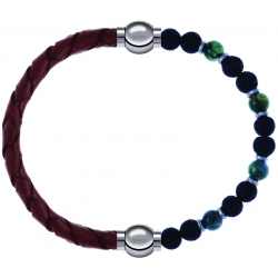 Apollon - Collection MiX-bracelet combinable cuir tressé italien marron-10,5cm + agate teintée verte-pierre de lave 6mm-10,75cm
