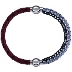 Apollon - Collection MiX - bracelet combinable cuir tressé italien marron - 10,5cm + chaines 2 tons noir et blancs - 10,25cm