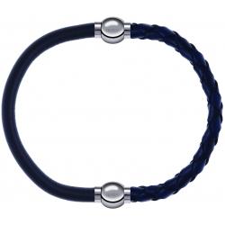 Apollon - Collection MiX - bracelet combinable cuir italien gris - 10,25cm + cuir tressé italien bleu - 10,5cm