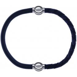 Apollon - Collection MiX - bracelet combinable cuir italien gris - 10,25cm + cuir tressé italien gris - 10,5cm