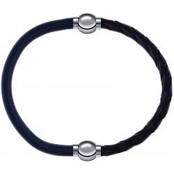 Apollon - Collection MiX - bracelet combinable cuir italien gris - 10,25cm + cuir tressé italien marron - 10,5cm