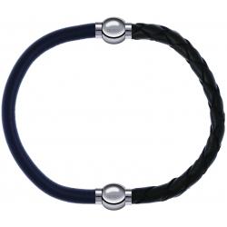 Apollon - Collection MiX - bracelet combinable cuir italien gris - 10,25cm + cuir tressé italien vert - 10,5cm