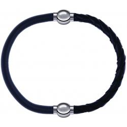 Apollon - Collection MiX - bracelet combinable cuir italien gris - 10,25cm + cuir tressé italien noir - 10,5cm