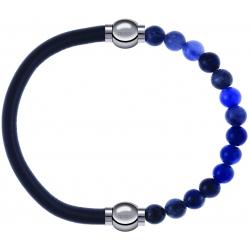 Apollon - Collection MiX - bracelet combinable cuir italien gris - 10,25cm + sodalite 6mm - 10,25cm