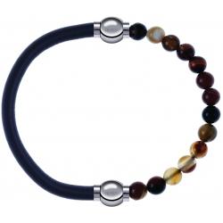 Apollon - Collection MiX - bracelet combinable cuir italien gris - 10,25cm + agate marron 6mm - 10,25cm