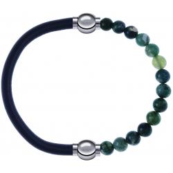 Apollon - Collection MiX - bracelet combinable cuir italien gris - 10,25cm + agate verte mousse 6mm - 10,25cm