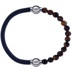 Apollon - Collection MiX - bracelet combinable cuir italien gris - 10,25cm + oeil de tigre 6mm - 10,25cm