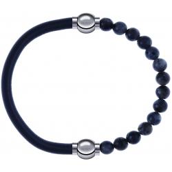 Apollon - Collection MiX - bracelet combinable cuir italien gris - 10,25cm + labradorite 6mm - 10,25cm