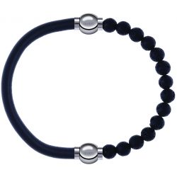 Apollon - Collection MiX - bracelet combinable cuir italien gris - 10,25cm + pierre de lave 6mm - 10,25cm
