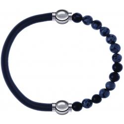Apollon - Collection MiX - bracelet combinable cuir italien gris - 10,25cm + obsidienne neige 6mm - 10,25cm