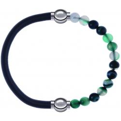 Apollon - Collection MiX - bracelet combinable cuir italien gris - 10,25cm + agate indienne teintée 6mm - 10,25cm