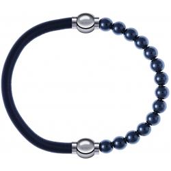 Apollon - Collection MiX - bracelet combinable cuir italien gris - 10,25cm + hématite 6mm - 10,25cm