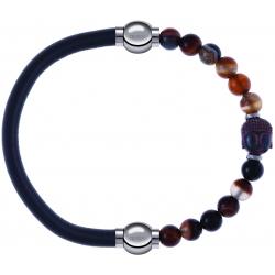 Apollon - Collection MiX - bracelet combinable cuir italien gris - 10,25cm + agate marron 6mm - Bouddha - 10cm