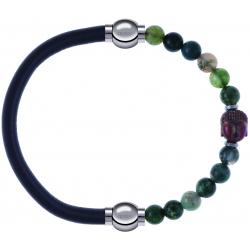 Apollon - Collection MiX - bracelet combinable cuir italien gris - 10,25cm + agate verte 6mm - Bouddha - 10cm