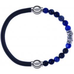 Apollon - Collection MiX - bracelet combinable cuir italien gris - 10,25cm + labradorite 6mm - 10cm