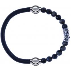 Apollon - Collection MiX - bracelet combinable cuir italien gris - 10,25cm + sodalite 6mm - 10cm