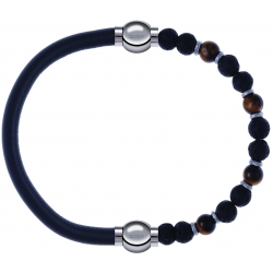 Apollon - Collection MiX - bracelet combinable cuir italien gris - 10,25cm + oeil de tigre - pierre de lave 6mm - 10,75cm