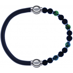 Apollon - Collection MiX - bracelet combinable cuir italien gris - 10,25cm + agate teintée verte - pierre de lave 6mm - 10,75cm