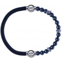 Apollon - Collection MiX - bracelet combinable cuir italien gris - 10,25cm + hématite 6mm - 10cm