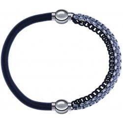 Apollon - Collection MiX - bracelet combinable cuir italien gris - 10,25cm + chaines 2 tons noir et blancs - 10,25cm