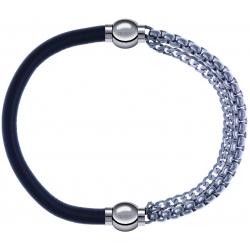 Apollon - Collection MiX - bracelet combinable cuir italien gris - 10,25cm + chaines - 10,25cm