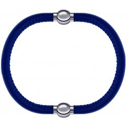 Apollon - Collection MiX - bracelet combinable cuir italien bleu - 10,25cm + cuir italien bleu - 10,25cm