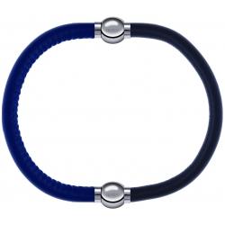 Apollon - Collection MiX - bracelet combinable cuir italien bleu - 10,25cm + cuir italien gris - 10,25cm