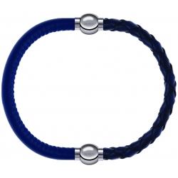 Apollon - Collection MiX - bracelet combinable cuir italien bleu - 10,25cm + cuir tressé italien bleu - 10,5cm