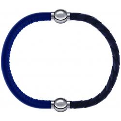 Apollon - Collection MiX - bracelet combinable cuir italien bleu - 10,25cm + cuir tressé italien gris - 10,5cm