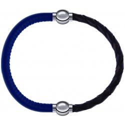 Apollon - Collection MiX - bracelet combinable cuir italien bleu - 10,25cm + cuir tressé italien marron - 10,5cm