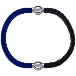 Apollon - Collection MiX - bracelet combinable cuir italien bleu - 10,25cm + cuir tressé italien vert - 10,5cm