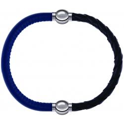 Apollon - Collection MiX - bracelet combinable cuir italien bleu - 10,25cm + cuir tressé italien noir - 10,5cm