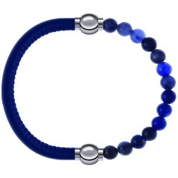 Apollon - Collection MiX - bracelet combinable cuir italien bleu - 10,25cm + sodalite 6mm - 10,25cm