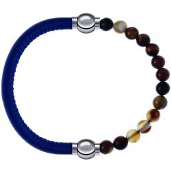 Apollon - Collection MiX - bracelet combinable cuir italien bleu - 10,25cm + agate marron 6mm - 10,25cm
