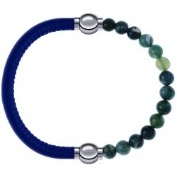 Apollon - Collection MiX - bracelet combinable cuir italien bleu - 10,25cm + agate verte mousse 6mm - 10,25cm