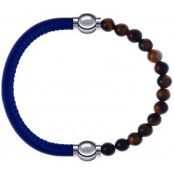 Apollon - Collection MiX - bracelet combinable cuir italien bleu - 10,25cm + oeil de tigre 6mm - 10,25cm