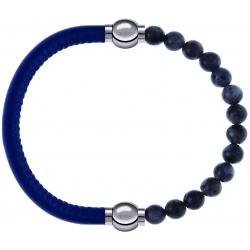 Apollon - Collection MiX - bracelet combinable cuir italien bleu - 10,25cm + labradorite 6mm - 10,25cm