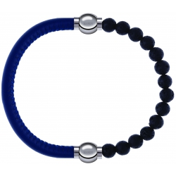 Apollon - Collection MiX - bracelet combinable cuir italien bleu - 10,25cm + pierre de lave 6mm - 10,25cm