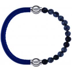 Apollon - Collection MiX - bracelet combinable cuir italien bleu - 10,25cm + obsidienne neige 6mm - 10,25cm