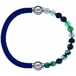 Apollon - Collection MiX - bracelet combinable cuir italien bleu - 10,25cm + agate indienne teintée 6mm - 10,25cm