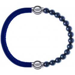 Apollon - Collection MiX - bracelet combinable cuir italien bleu - 10,25cm + hématite 6mm - 10,25cm