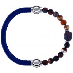 Apollon - Collection MiX - bracelet combinable cuir italien bleu - 10,25cm + agate marron 6mm - Bouddha - 10cm