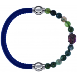 Apollon - Collection MiX - bracelet combinable cuir italien bleu - 10,25cm + agate verte 6mm - Bouddha - 10cm
