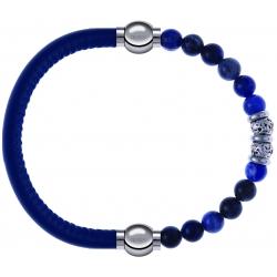 Apollon - Collection MiX - bracelet combinable cuir italien bleu - 10,25cm + labradorite 6mm - 10cm