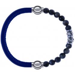Apollon - Collection MiX - bracelet combinable cuir italien bleu - 10,25cm + sodalite 6mm - 10cm