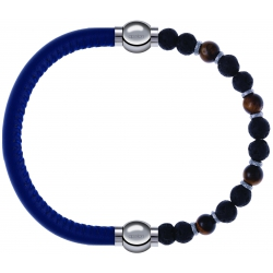 Apollon - Collection MiX - bracelet combinable cuir italien bleu - 10,25cm + oeil de tigre - pierre de lave 6mm - 10,75cm